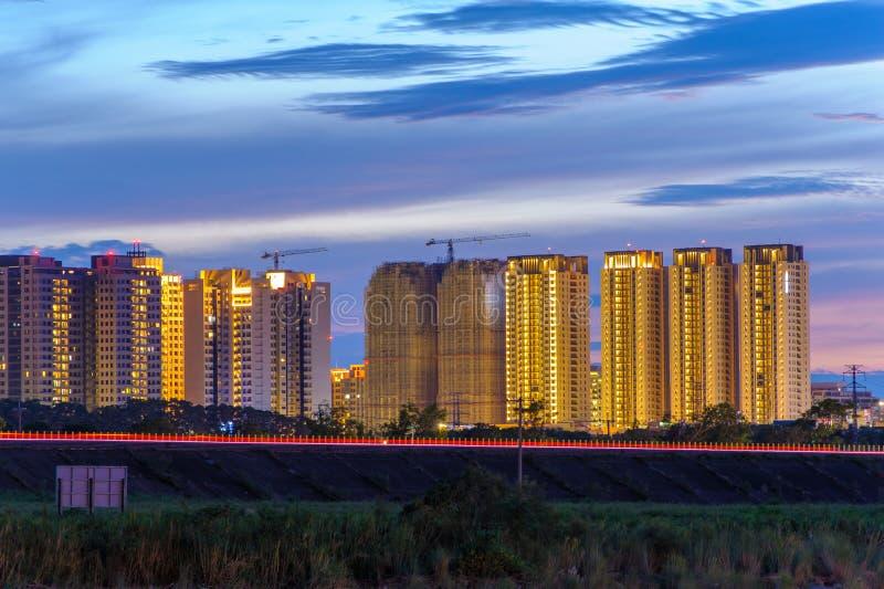 Взгляд ночи Hsinchu, Тайваня стоковая фотография