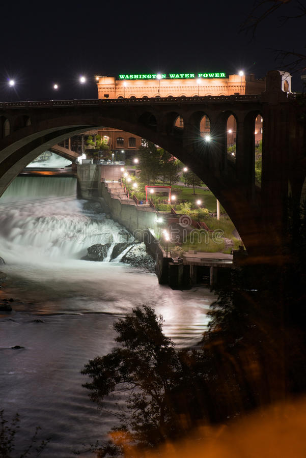 Взгляд ночи Spokane стоковые фото