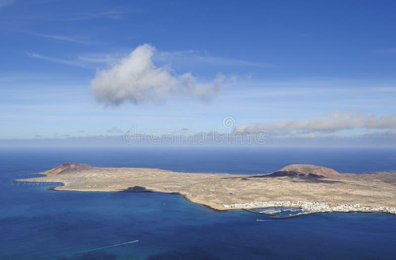 Взгляд острова Graciosa от del Рио Mirador, острова Лансароте стоковое изображение rf