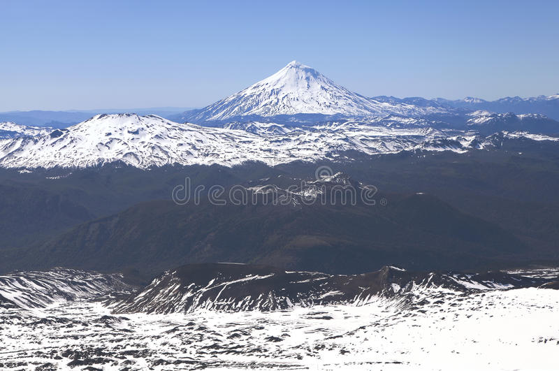 Взгляд от вулкана Villarica, Чили стоковые изображения