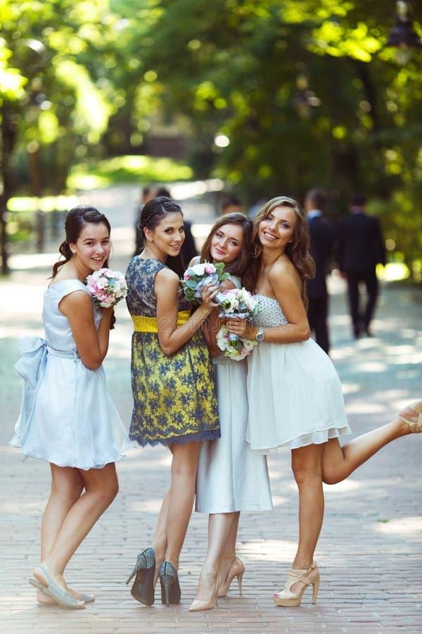 Взгляд от задних дальше милых, смешных bridesmaids стоя в стоковые изображения rf