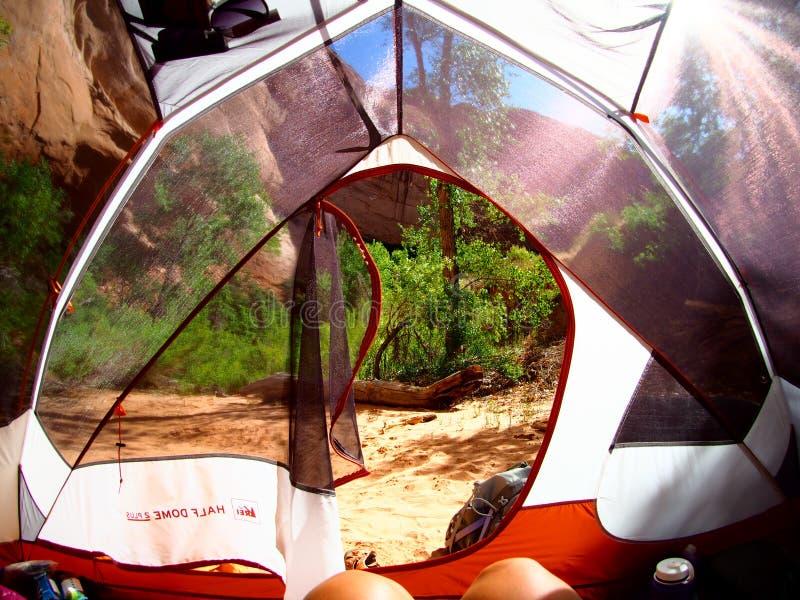 Взгляд от моего укладывая рюкзак шатра в каньоне пустыни стоковые изображения rf
