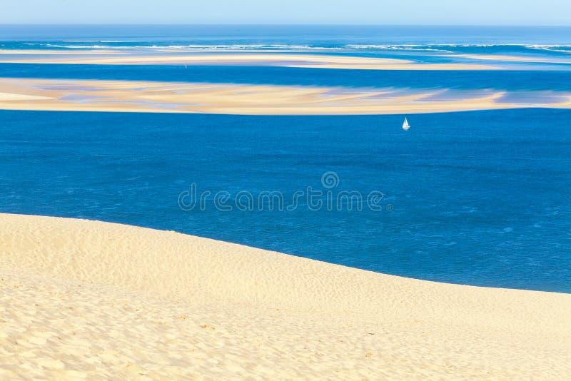 Взгляд от дюны Pyla, залива Arcachon стоковые изображения rf
