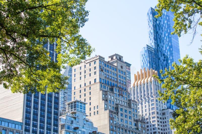 Взгляд от Central Park Нью-Йорка к skyscrappers стоковые изображения rf