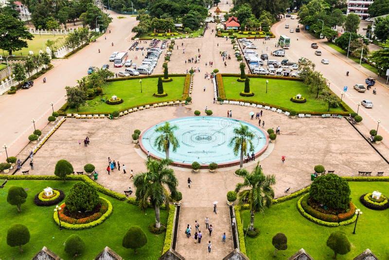 Взгляд от Patuxai, Вьентьян, Лаоса стоковые изображения rf