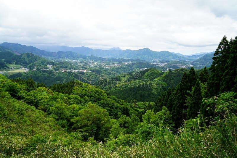Взгляд панорамы и городка горы растительности от afar стоковая фотография rf