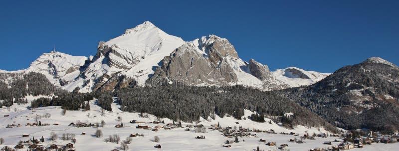 Взгляд панорамы ряда Alpstein в зиме стоковая фотография rf
