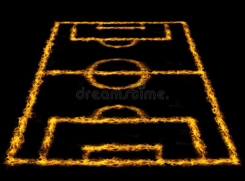 Взгляд перспективы футбольного поля или футбольного поля, иллюстрация вектора
