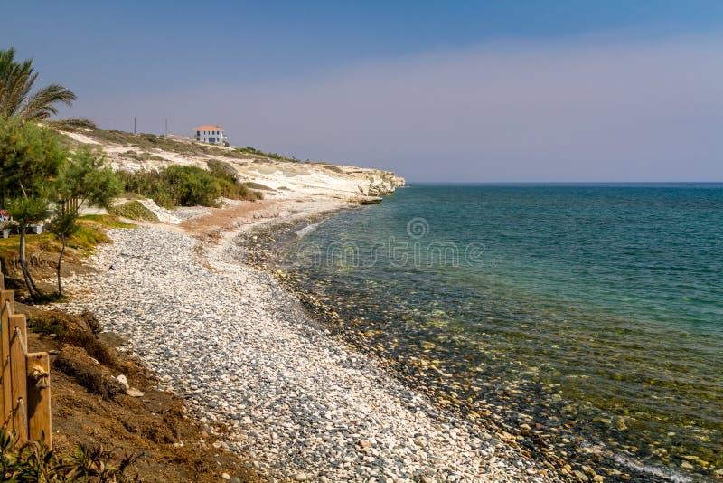 Взгляд побережья Средиземного моря, Кипр стоковое фото rf