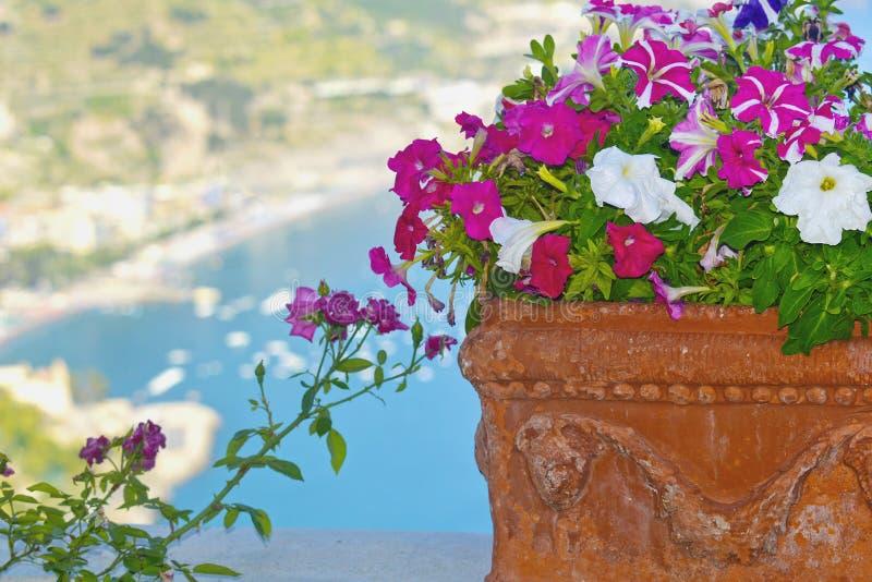 Взгляд побережья цветочного горшка и Амальфи стоковые изображения rf