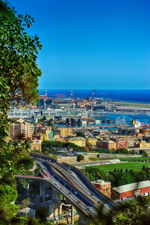 Взгляд порта Генуи сверху, Италия стоковое фото rf