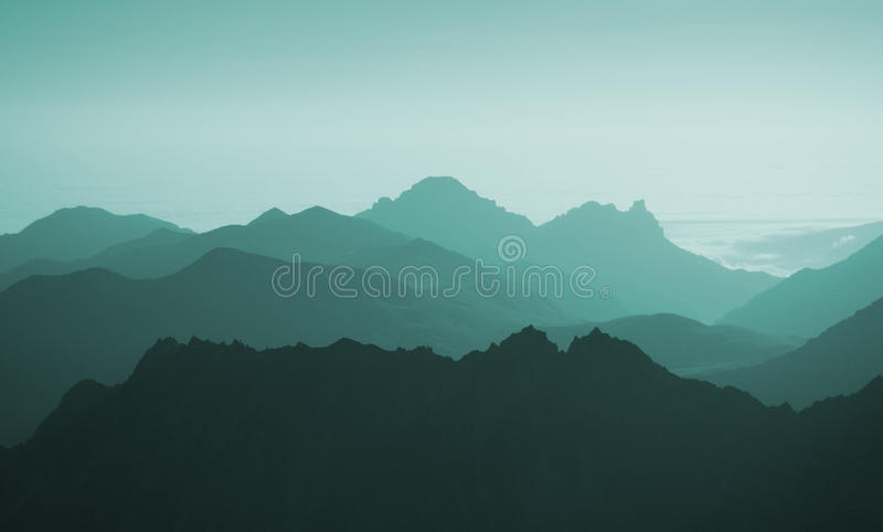 Взгляд предпосылки голубых гор абстрактной Волны стоковое изображение rf