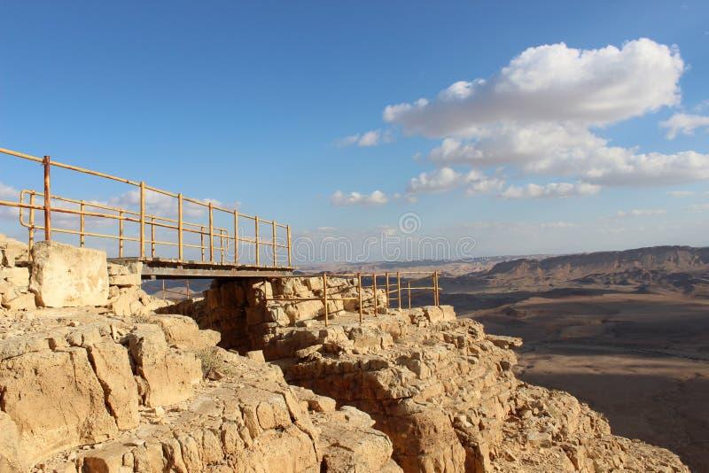 Взгляд промоины в Mizpe Рэймоне, Израиле стоковые изображения