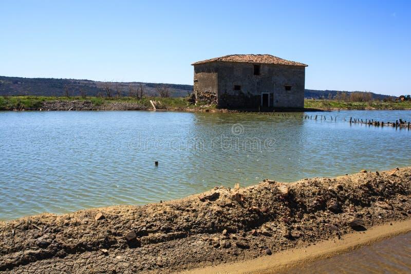 Взгляд прудов испарения соли в Secovlje стоковое фото rf