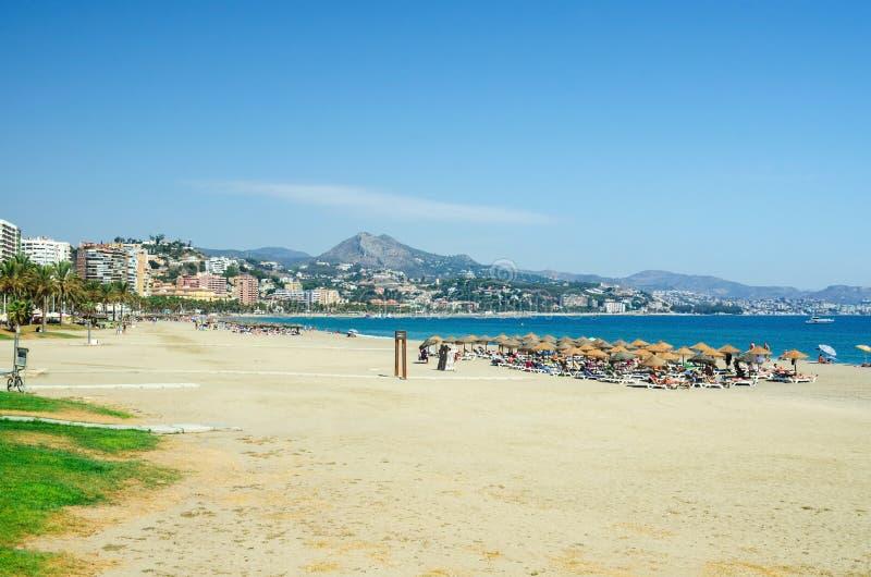 Взгляд пляжа Malagueta в городе Малаги Андалусия, Коста del Sol, южная Испания стоковое изображение rf