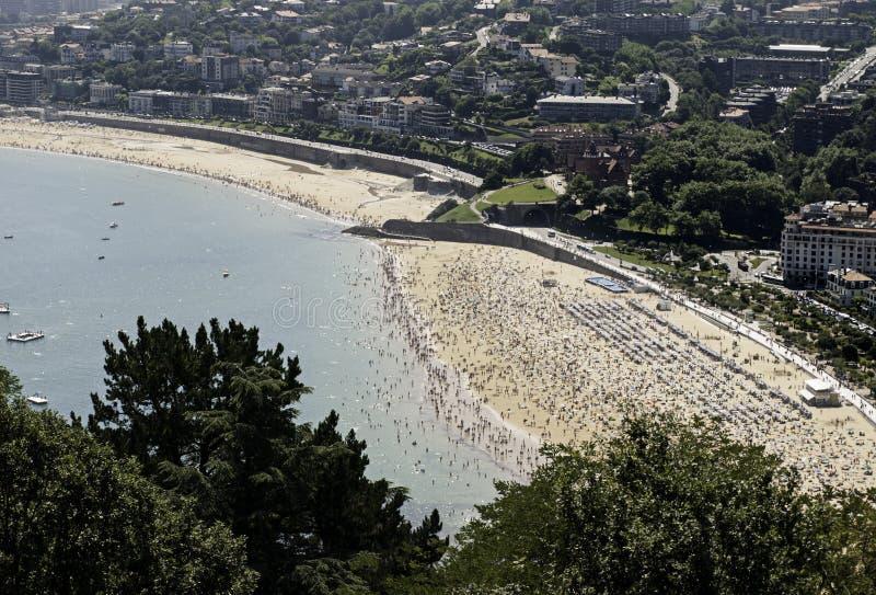 Взгляд пляжа San Sebastian панорамный стоковые изображения rf