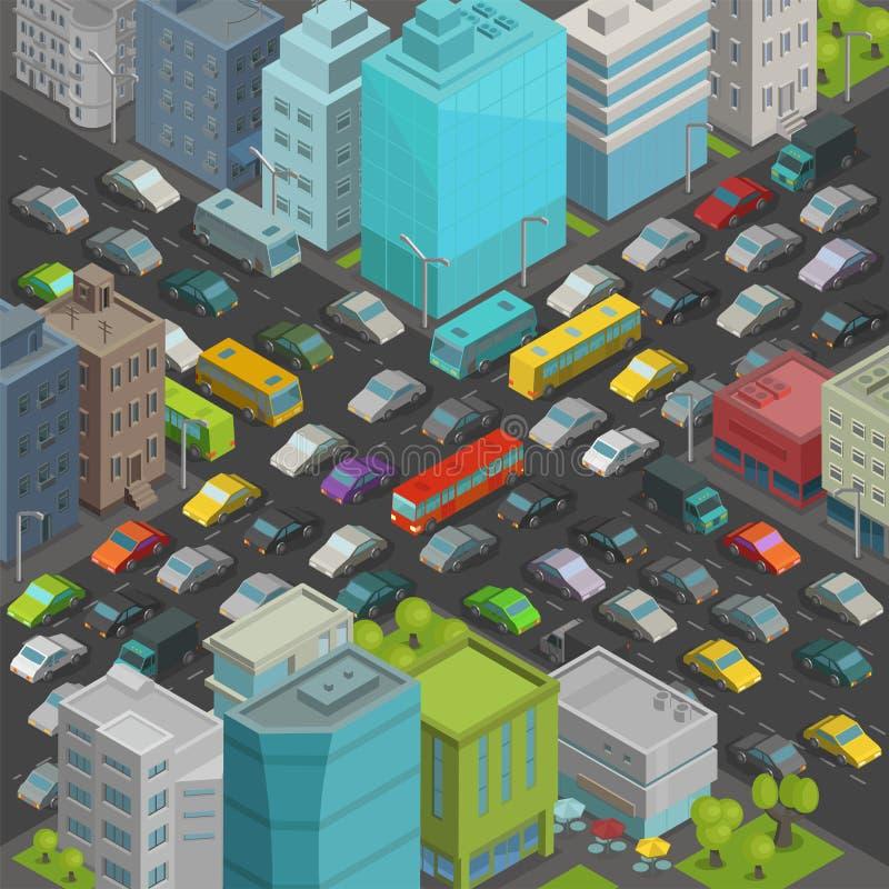 Взгляд равновеликой проекции дороги заторов движения пересечения улицы города Много вектор взгляд сверху зданий конца автомобилей иллюстрация штока