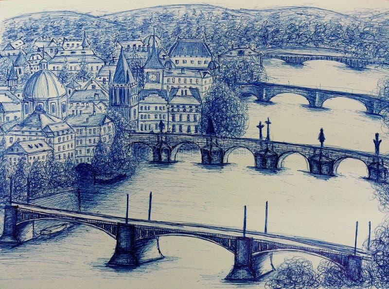 Взгляд романтичной Праги, Praha стоковое изображение