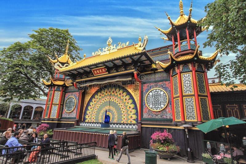 Взгляд садов Tivoli с дизайном китайца стоковые изображения rf