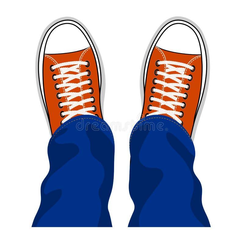 Взгляд сверху ботинок тапок молодости стильное иллюстрация штока