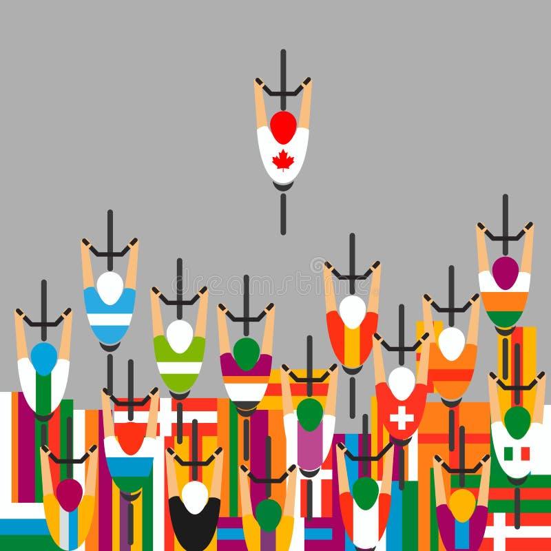 Взгляд сверху велосипедиста группы с флагами различных стран мира бесплатная иллюстрация