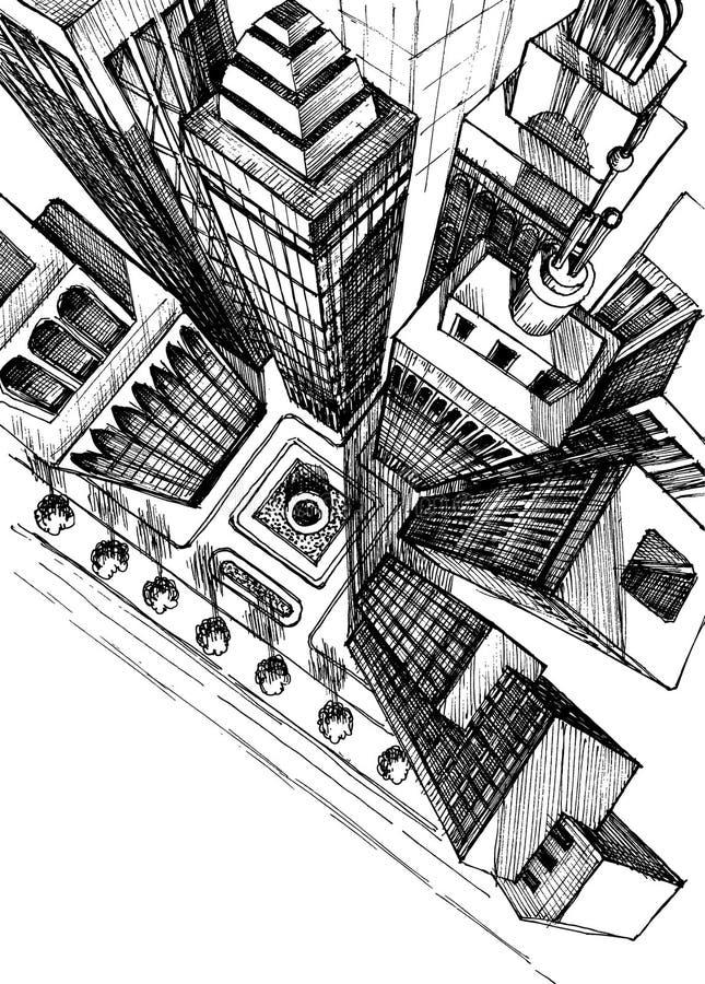 взгляд сверху города иллюстрация вектора