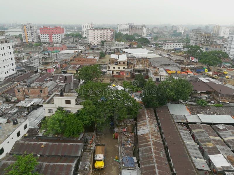 Взгляд сверху города dhaka стоковые фото