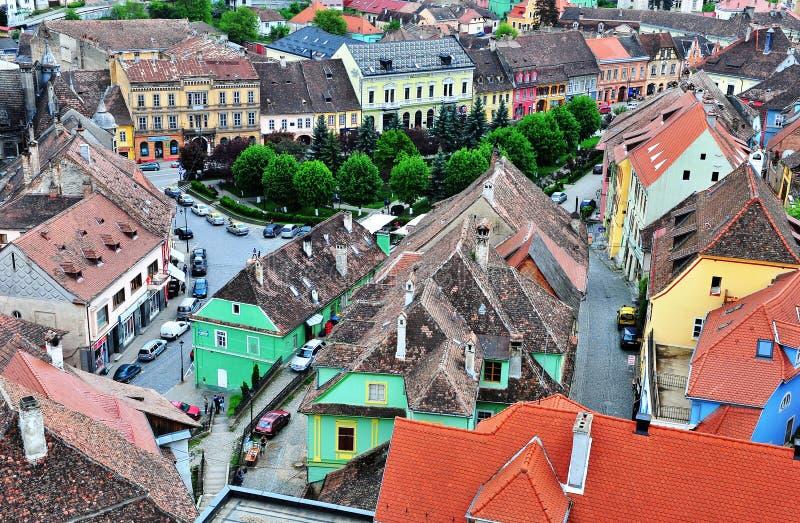 Взгляд сверху городка Sighisoara старого, Румынии стоковое фото