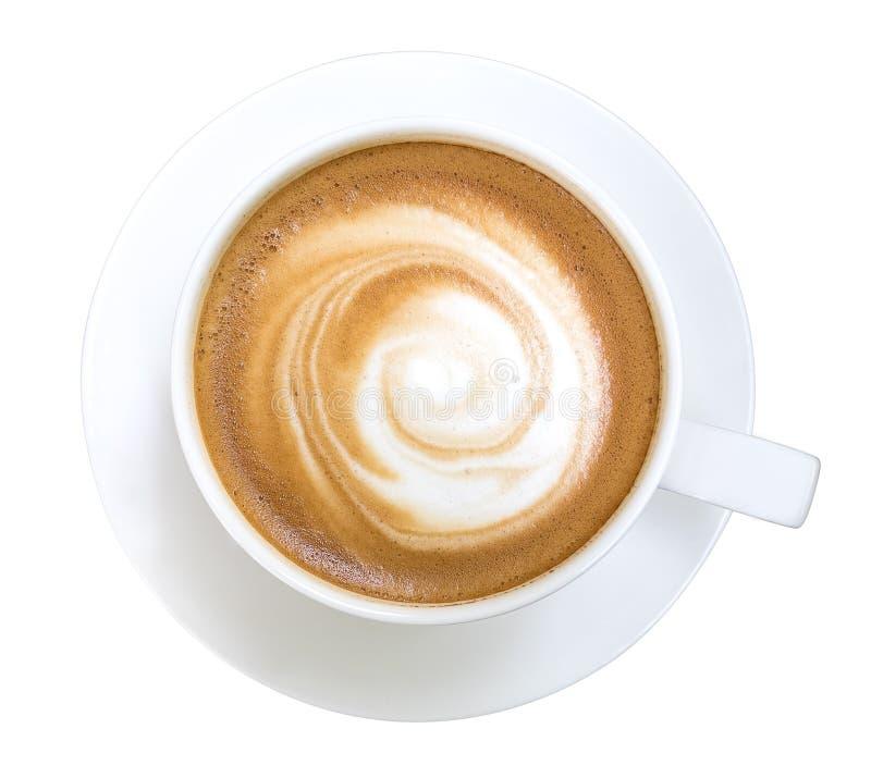 Взгляд сверху горячего капучино кофе изолированного на белой предпосылке, включенном пути клиппирования стоковые изображения