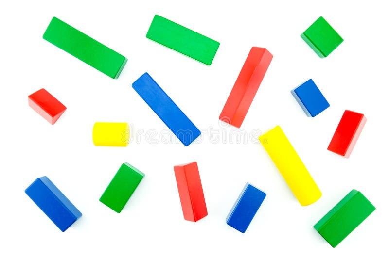 взгляд сверху игрушки красочной изолированной древесины блока стоковое фото rf