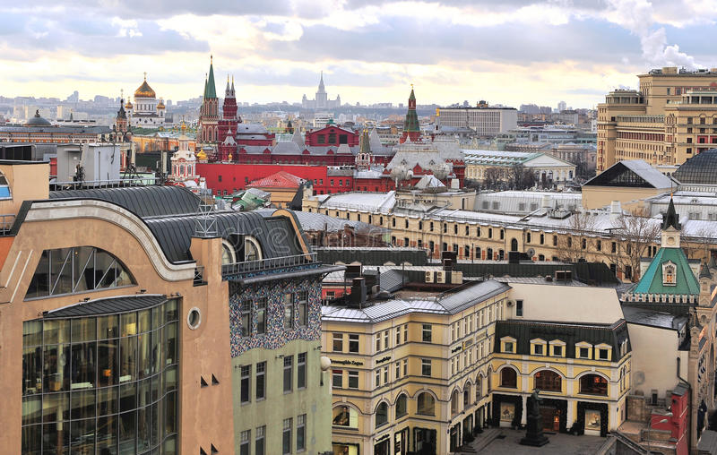 Взгляд сверху исторического центра Москвы стоковые фотографии rf