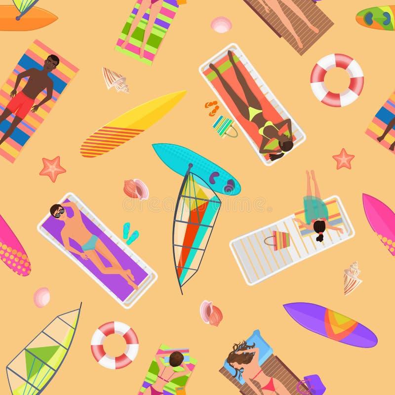 Взгляд сверху картины пляжа безшовное Люди лета на солнечном пляже Люди летнего времени взгляда сверху с зонтиками иллюстрация вектора