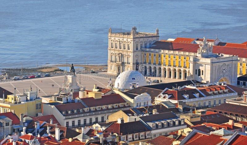 Взгляд сверху квадрата коммерции в Лиссабоне, Португалии стоковое фото