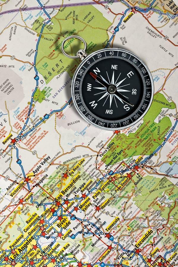 Карта и компас стоковая фотография rf