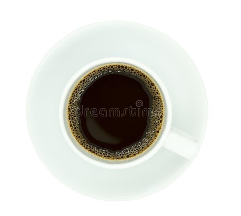 Взгляд сверху кофейной чашки, изолят на белой предпосылке стоковые изображения