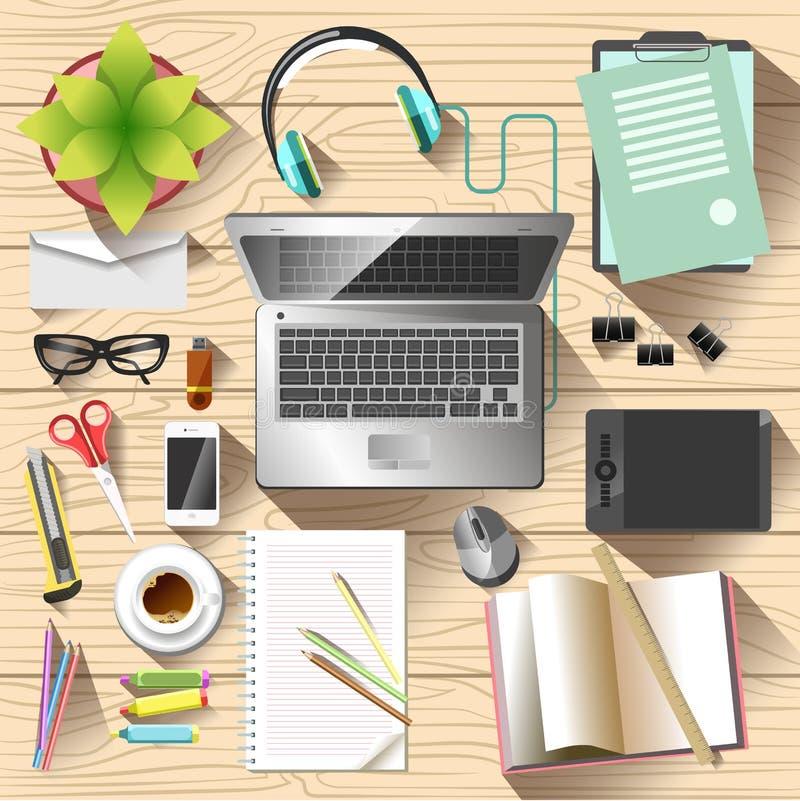 Взгляд сверху места для работы офис стола принципиальной схемы дела бухгалтерии бесплатная иллюстрация