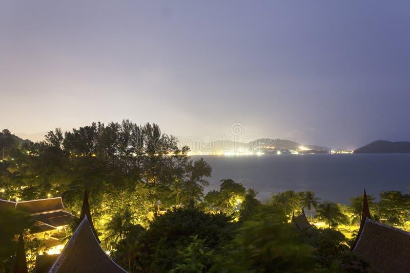 Взгляд сверху моря в nighttime стоковая фотография