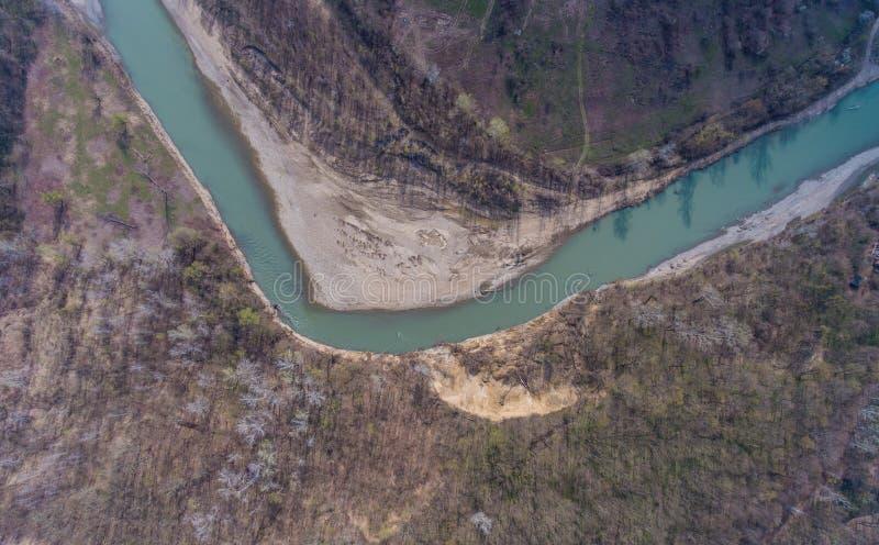 Взгляд сверху на загибе реки Pshekha стоковая фотография