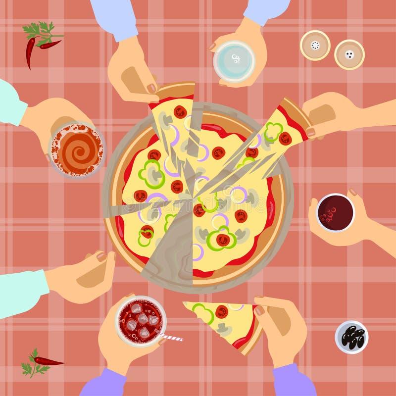 Взгляд сверху пиццы иллюстрация вектора