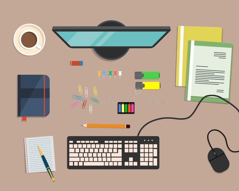 Взгляд сверху предпосылки стола, где монитор, клавиатура, мышь компьютера, папки цвета, отметки, другие канцелярские принадлежнос иллюстрация штока