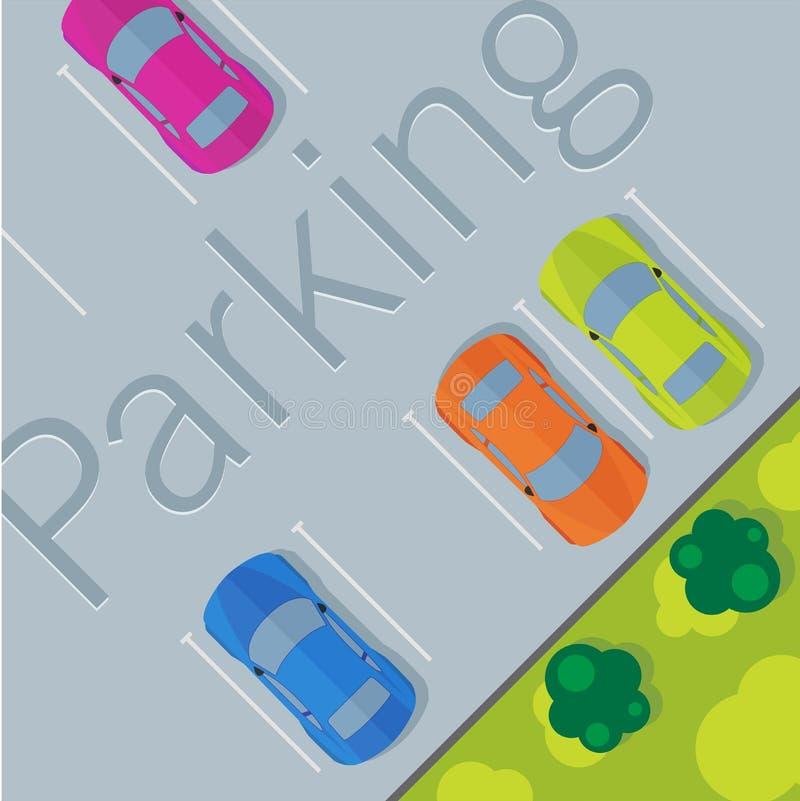 Взгляд сверху припаркованного автомобиля иллюстрация штока
