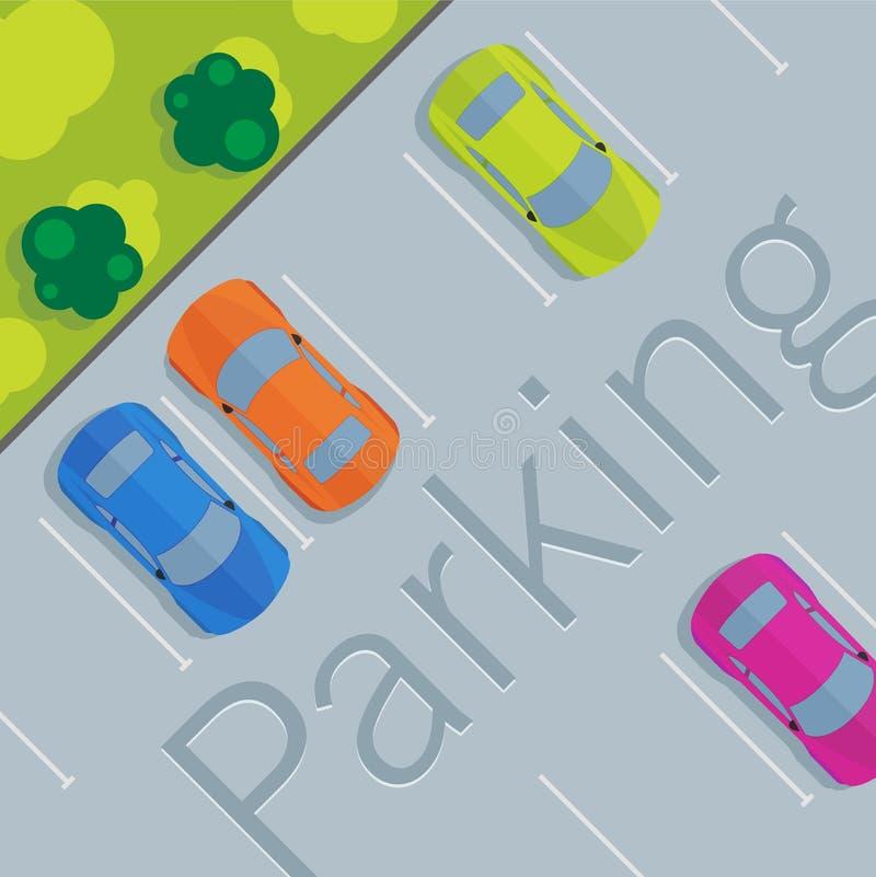Взгляд сверху припаркованного автомобиля бесплатная иллюстрация