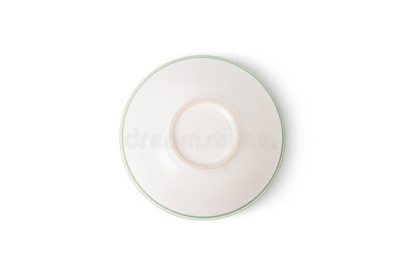 Взгляд сверху пустого белого керамического шара стоковое изображение