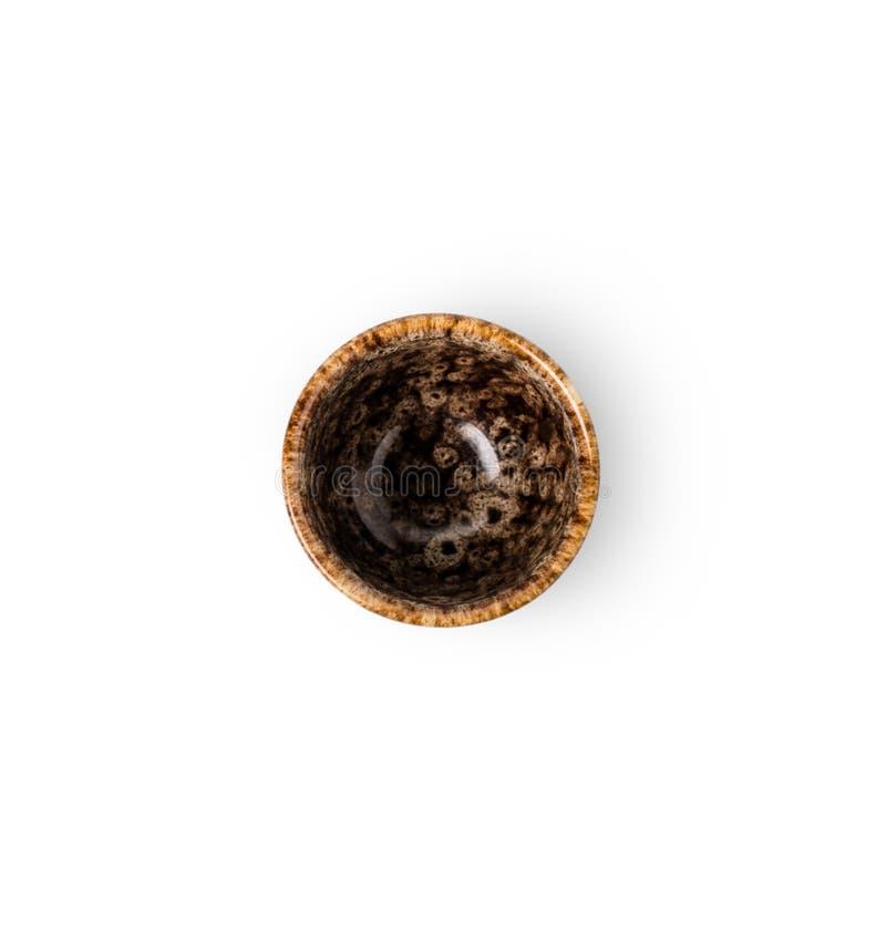 Взгляд сверху пустого керамического изолированного бака света чая стоковые фото