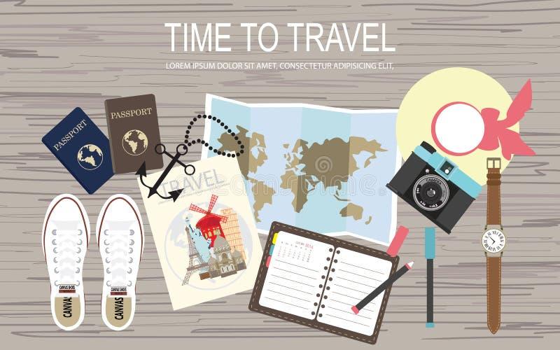 Взгляд сверху плоского дизайна знамени сети с ботинками, картой и пасспортом иллюстрация вектора