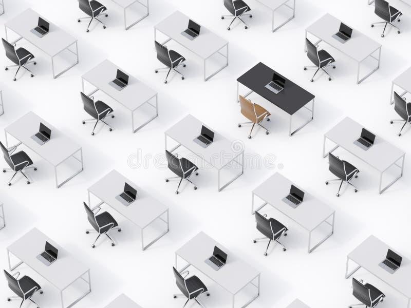 Взгляд сверху симметричных корпоративных рабочих мест на белом поле Концепция корпоративной жизни иллюстрация штока
