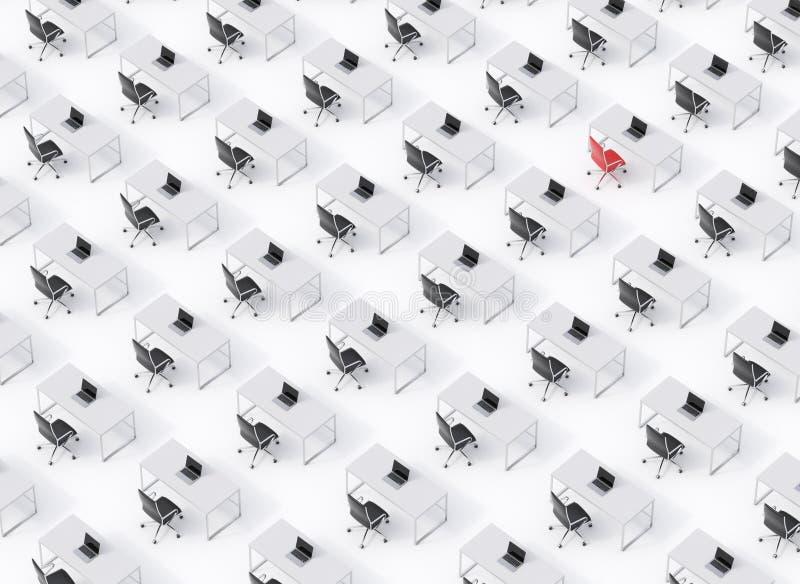 Взгляд сверху симметричных корпоративных рабочих мест на белом поле Концепция корпоративной жизни Черные кожаные стулья, белизна  иллюстрация вектора