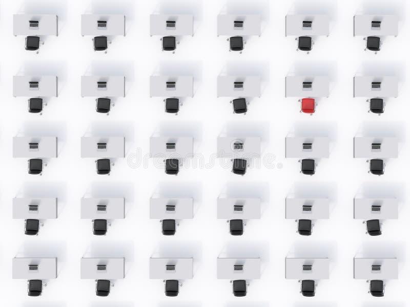 Взгляд сверху симметричных корпоративных рабочих мест на белом поле Концепция корпоративной жизни бесплатная иллюстрация