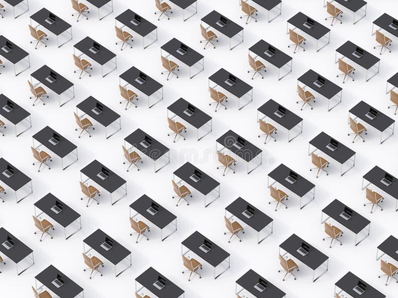 Взгляд сверху симметричных корпоративных рабочих мест на белом поле Концепция корпоративной жизни в огромной транснациональной ко иллюстрация штока