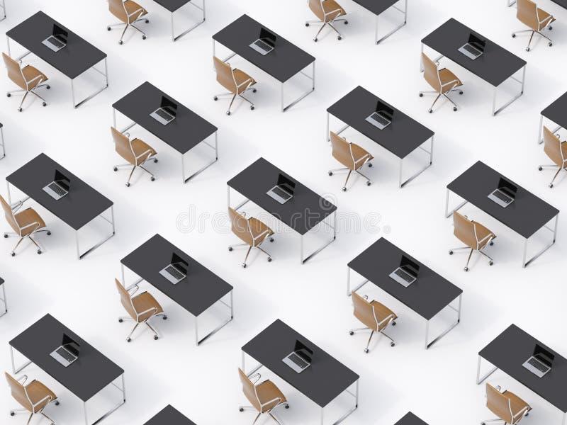 Взгляд сверху симметричных корпоративных рабочих мест на белом поле Концепция корпоративной жизни в огромной транснациональной ко бесплатная иллюстрация